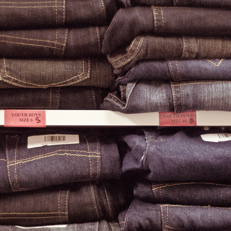 Stacks of boys denim